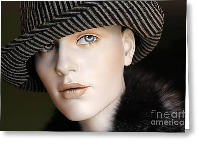 Fur Collar Greeting Cards - Chic Greeting Card by Sophie Vigneault