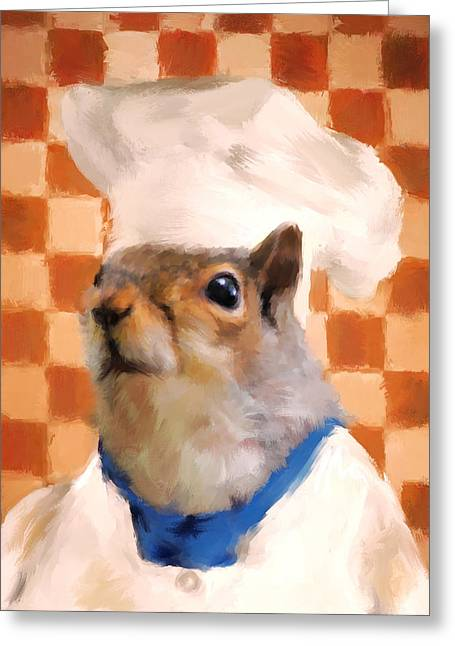 Chef Hat Greeting Cards - Chic Squirrel Chef Greeting Card by Jai Johnson