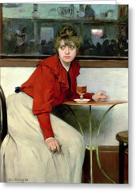 I Drink Greeting Cards - Chica in a Bar Greeting Card by Ramon Casas i Carbo