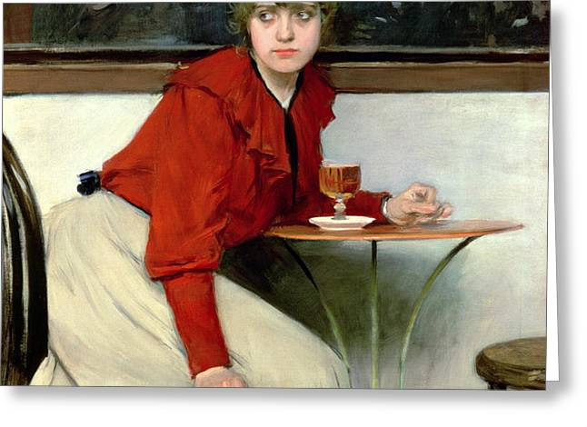 Chica in a Bar Greeting Card by Ramon Casas i Carbo