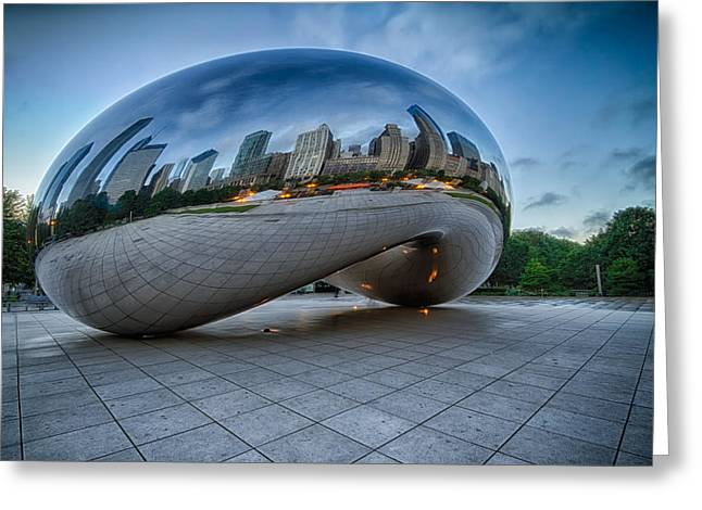 The Bean Greeting Cards - Chicago - Cloudgate Reflections Greeting Card by Lindley Johnson