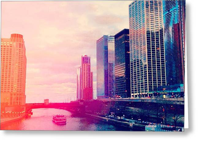 Reflecting Water Digital Art Greeting Cards - Chicago #1 Greeting Card by Stacia Blase