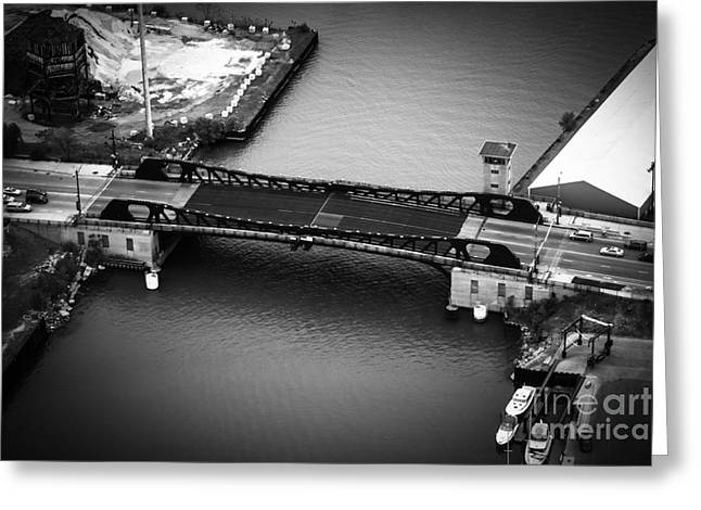 Chicago 95th Street Bridge Aerial Black And White Picture Greeting Card by Paul Velgos