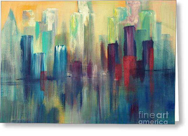 Sailboats In Harbor Paintings Greeting Cards - Chicago A Reflection Greeting Card by Julie Lueders
