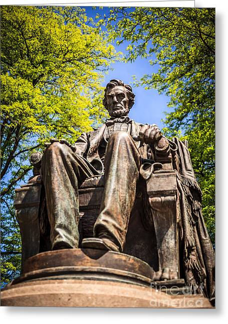 Head Of State Greeting Cards - Chicago Abraham Lincoln Sitting Statue Greeting Card by Paul Velgos