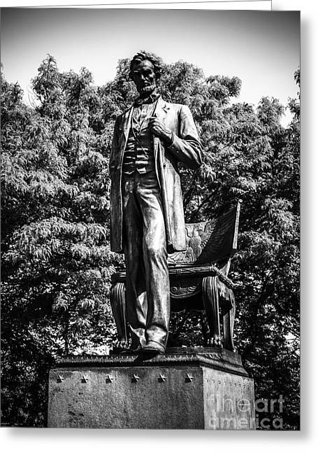 Famous Figures Greeting Cards - Chicago Abraham Lincoln Statue in Black and White Greeting Card by Paul Velgos