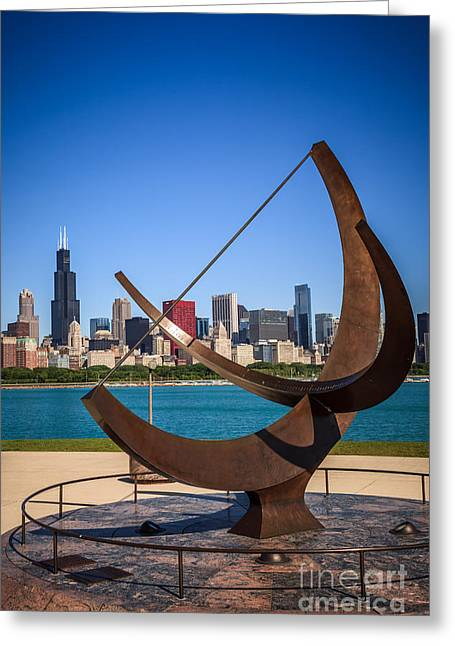 The Cosmos Greeting Cards - Chicago Adler Planetarium Sundial and Chicago Skyline Greeting Card by Paul Velgos