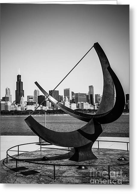 The Cosmos Greeting Cards - Chicago Adler Planetarium Sundial in Black and White Greeting Card by Paul Velgos
