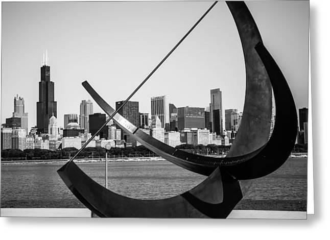 Chicago Adler Planetarium Sundial in Black and White Greeting Card by Paul Velgos