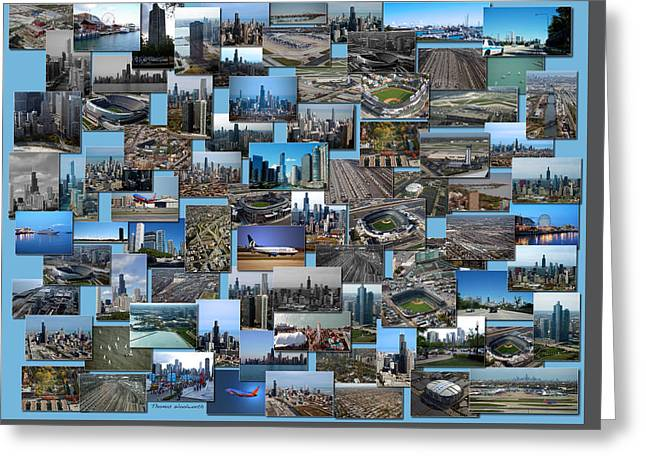 Coller Greeting Cards - Chicago Aerial Collage Rectangle Greeting Card by Thomas Woolworth