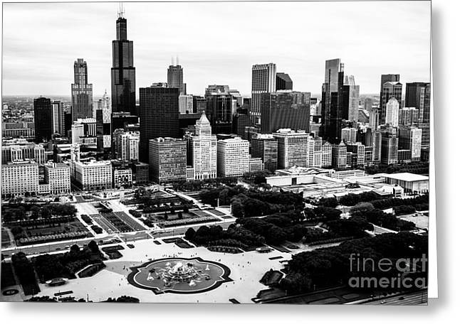 2013 Greeting Cards - Chicago Aerial Picture in Black and White Greeting Card by Paul Velgos