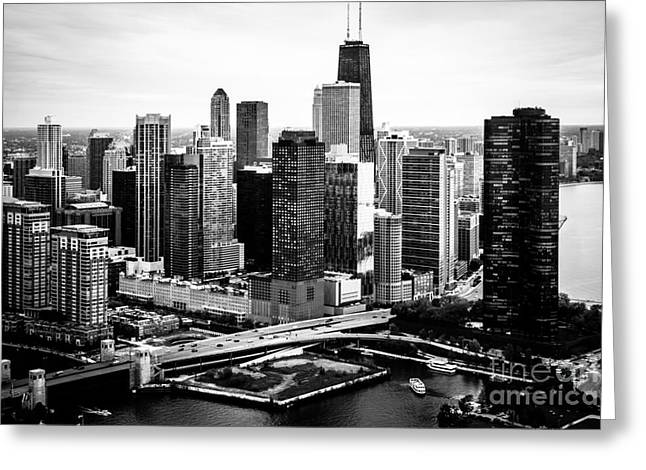 Condo Greeting Cards - Chicago Aerial Picture of Streeterville in Black and White Greeting Card by Paul Velgos
