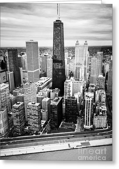 Chicago Aerial With Hancock Building In Black And White Greeting Card by Paul Velgos