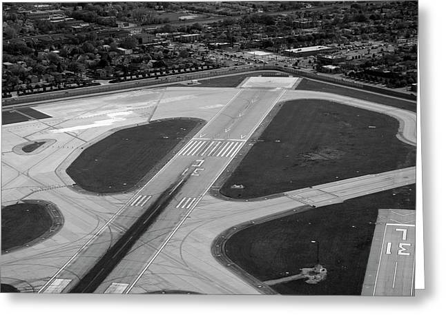 Chicago AirPlanes 04 Black and White Greeting Card by Thomas Woolworth