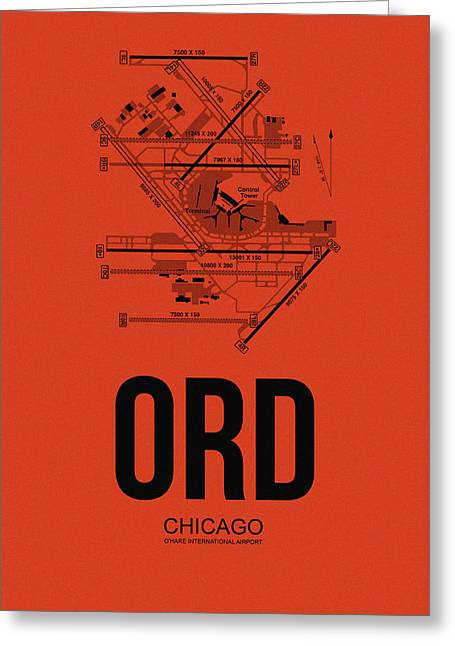Town Mixed Media Greeting Cards - Chicago Airport Poster 1 Greeting Card by Naxart Studio