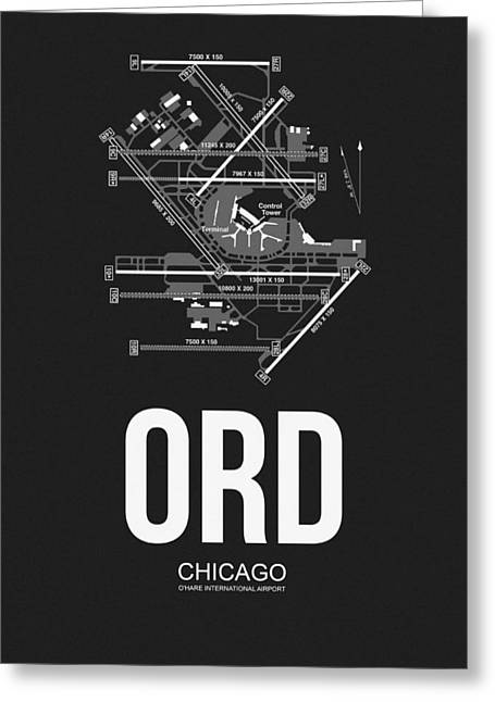 Chicago Airport Poster Greeting Card by Naxart Studio