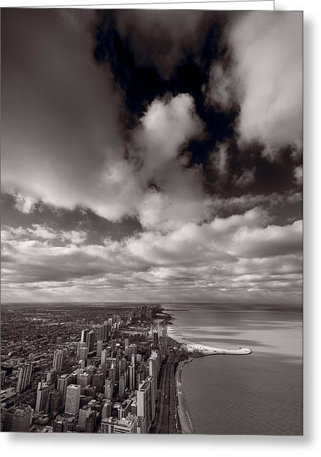 Lake Shore Drive Greeting Cards - Chicago Aloft BW Greeting Card by Steve Gadomski