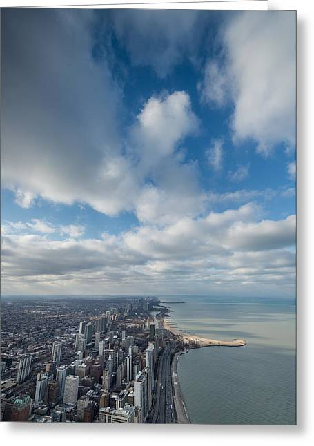 Lake Shore Drive Greeting Cards - Chicago Aloft Greeting Card by Steve Gadomski