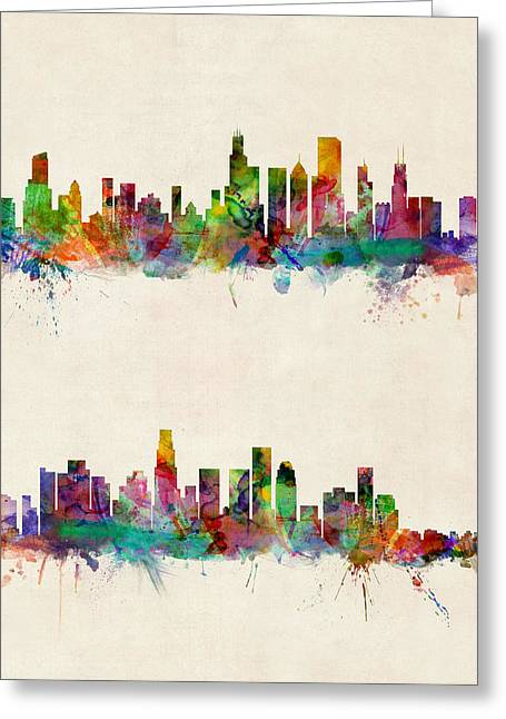 Chicago And Los Angeles Skylines Greeting Card by Michael Tompsett