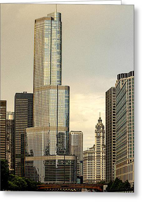 Riverwalk Digital Art Greeting Cards - Chicago Architecture Old and New Greeting Card by Julie Palencia