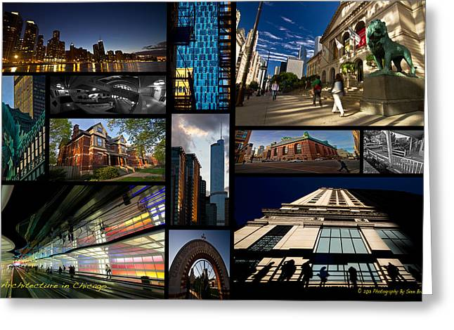 Lake Michgan Greeting Cards - Chicago Architecture photo collage Greeting Card by Sven Brogren