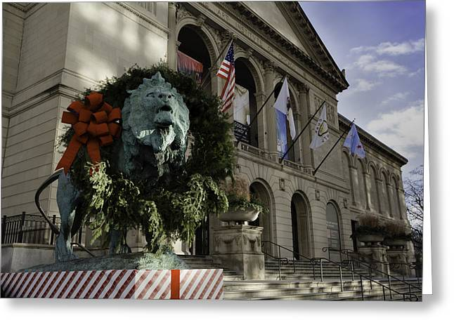 Chicago Art Institute Guardian Greeting Card by Sebastian Musial