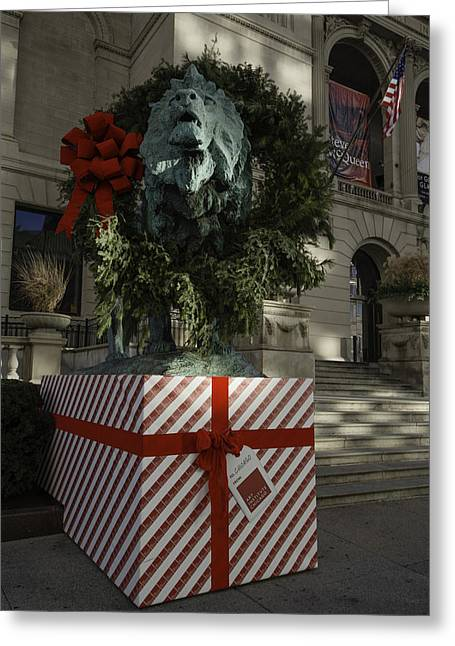 Chicago Art Institute Lion Greeting Card by Sebastian Musial