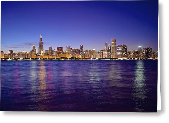 Chicago Bulls Greeting Cards - Chicago at Dusk Greeting Card by Frozen in Time Fine Art Photography