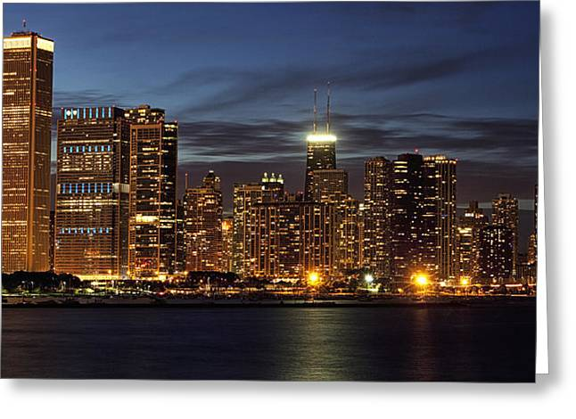 View. Chicago Greeting Cards - Chicago at Night Greeting Card by Andrew Soundarajan