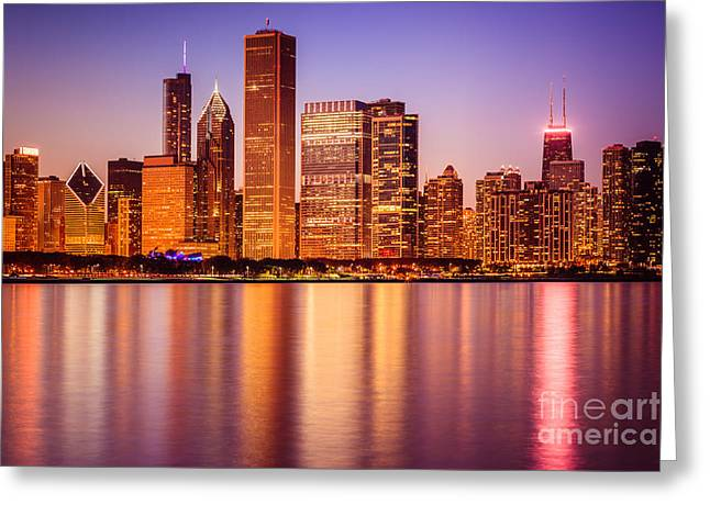 Chicago Loop Greeting Cards - Chicago at Night Downtown City Lakefront Greeting Card by Paul Velgos