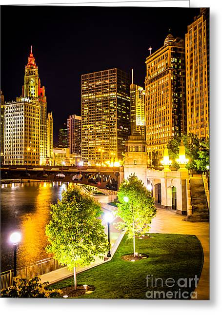 Riverwalk Photographs Greeting Cards - Chicago at Night Picture Greeting Card by Paul Velgos