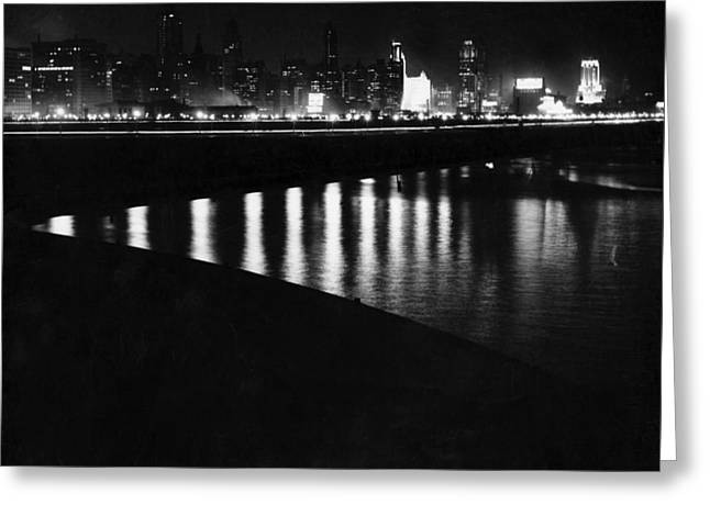 Chicago At Night Greeting Card by Underwood Archives