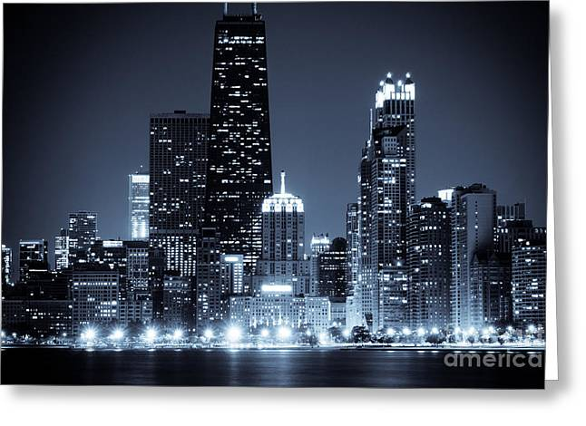 John Hancock Tower Greeting Cards - Chicago at Night with Hancock Building Greeting Card by Paul Velgos