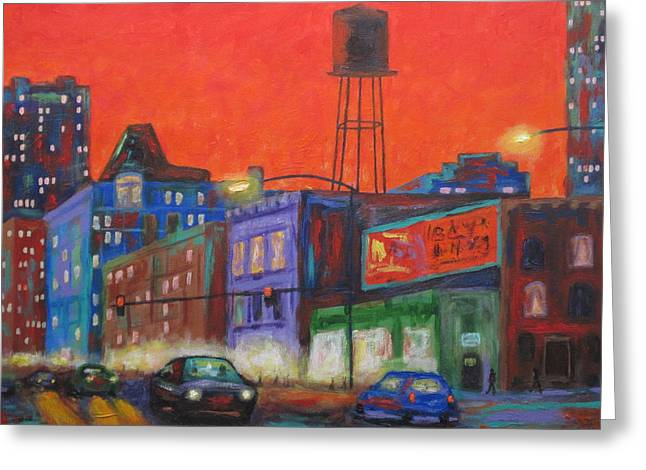 Urban Images Paintings Greeting Cards - Chicago Avenue Looking West Greeting Card by J Loren Reedy
