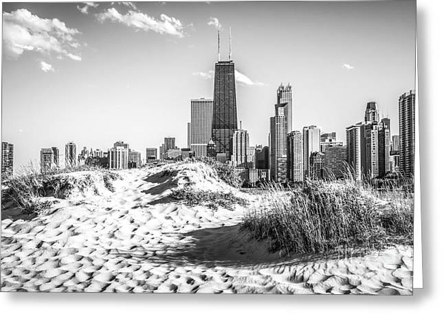 John Hancock Tower Greeting Cards - Chicago Beach and Skyline Black and White Photo Greeting Card by Paul Velgos