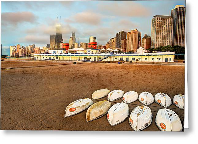 Beach At Night Greeting Cards - Chicago Beach Boats Greeting Card by Gregory Ballos