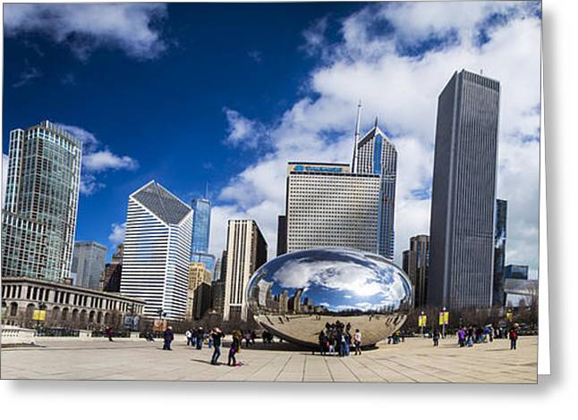 The Bean Greeting Cards - Chicago Bean and Skyline Greeting Card by John McGraw