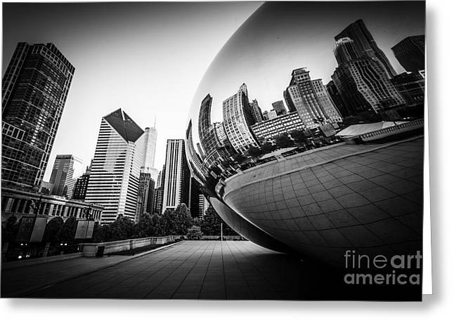 Millennium Park Greeting Cards - Chicago Bean Cloud Gate in Black and White Greeting Card by Paul Velgos