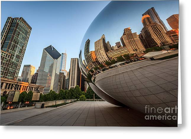 Editorial Photographs Greeting Cards - Chicago Bean Cloud Gate Sculpture Reflection Greeting Card by Paul Velgos