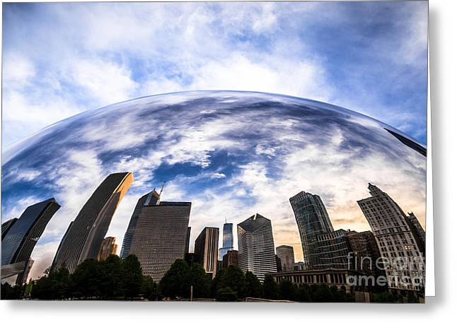 Bean Greeting Cards - Chicago Bean Cloud Gate Skyline Greeting Card by Paul Velgos