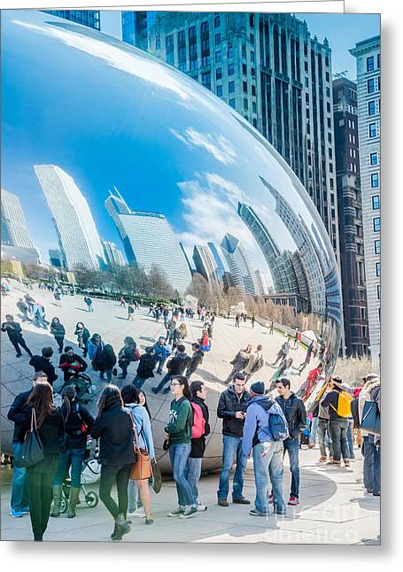 Egg Sculpture Greeting Cards - Chicago Bean Millenium Park Greeting Card by Jim DeLillo