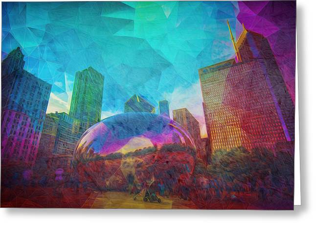 Chicago Bean Skyline Illinois Digital Paint Greeting Card by David Haskett