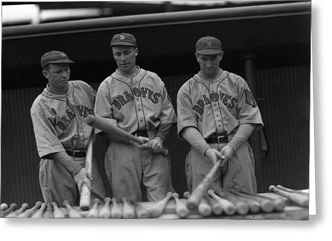 Baseball Bat Greeting Cards - Boston Braves Bats Greeting Card by Retro Images Archive