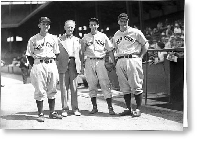 Gehrig Greeting Cards - Lou Gehrig and teammates Greeting Card by Retro Images Archive
