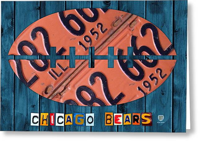 Chicago Mixed Media Greeting Cards - Chicago Bears Football Recycled License Plate Art Greeting Card by Design Turnpike