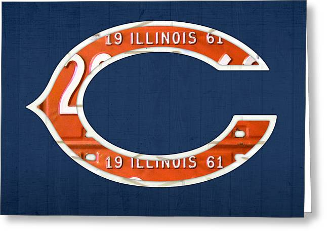 Chicago Mixed Media Greeting Cards - Chicago Bears Football Team Retro Logo Illinois License Plate Art Greeting Card by Design Turnpike