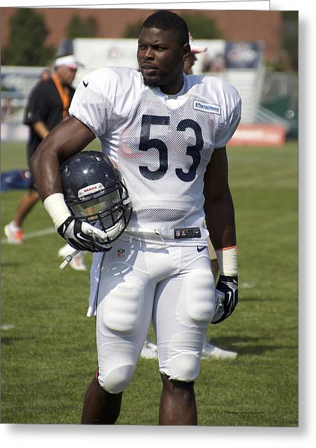 Town Of Franklin Greeting Cards - Chicago Bears LB Jerry Franklin Training Camp 2014 01 Greeting Card by Thomas Woolworth