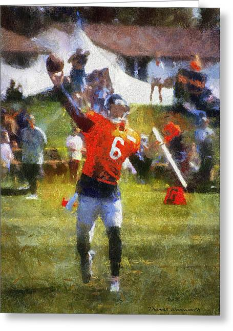Game 6 Greeting Cards - Chicago Bears QB Jay Cutler Training Camp 2014 04 Photo Art 02 Greeting Card by Thomas Woolworth