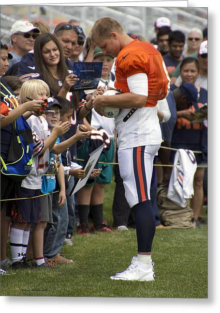Autographed Photographs Greeting Cards - Chicago Bears QB Jimmy Clausen Training Camp 2014 02 Greeting Card by Thomas Woolworth