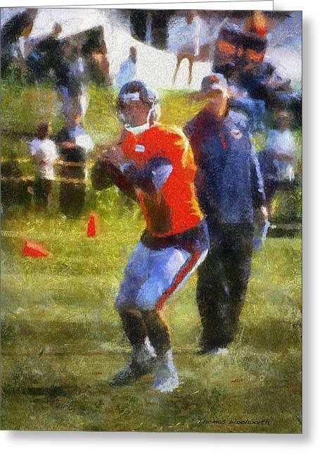 Chicago Bears Qb Jordan Palmer Training Camp 2014 Photo Art 02 Greeting Card by Thomas Woolworth